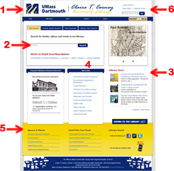 Library Web Site Renovation - Highlighted Areas