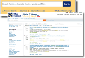 Announcing the unveiling of Primo & Alma - a search box and results screen image
