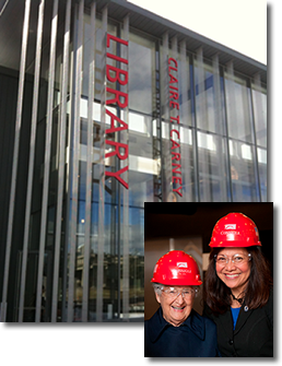 Letter Signage on Library Building and pictures of Claire T. Carney and Chancellor Grossman
