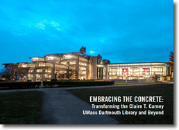Image of Library at dusk with Embrace the Concrete emblazoned over it.