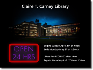 Library Open 24 HRS with Graphic of Library at Night