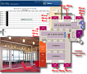 ReservIT Screen Shot, Group Study Map and Picture of A Group Study Room