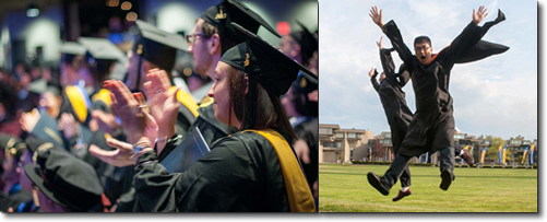 Graduates Applaud. Two Graduates Jump Up in Air in Celebration!