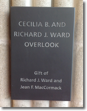 Cecillia B. and Richard J. Ward Overlook Plague on library addition, 2nd floor