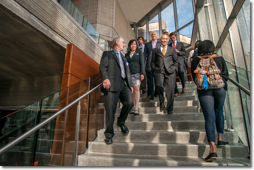 Governor Patrick Tours Claire T. Carney Library with Chancellor Grossman, Library Dean Burton, and others