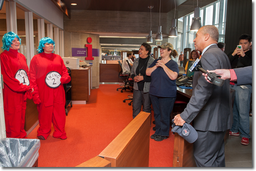 Staff in Dr. Suess Thing Costomes Greet Governor Deval Patrick