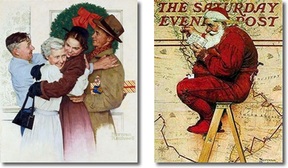 2 images of Norman Rockwell Paintings - Family with Wreath & Santa in front of Globe