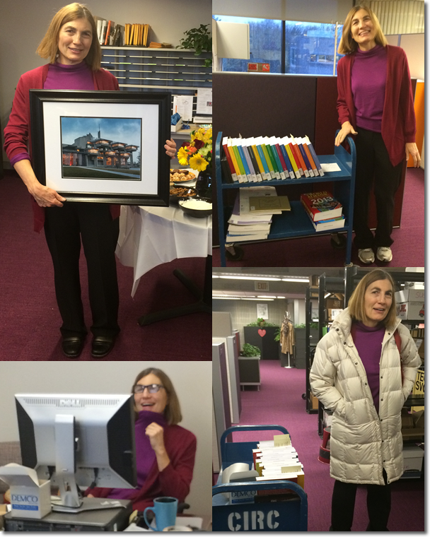 Pictures of Damaris Chapin-Berner on her last day as UMassD Cataloger