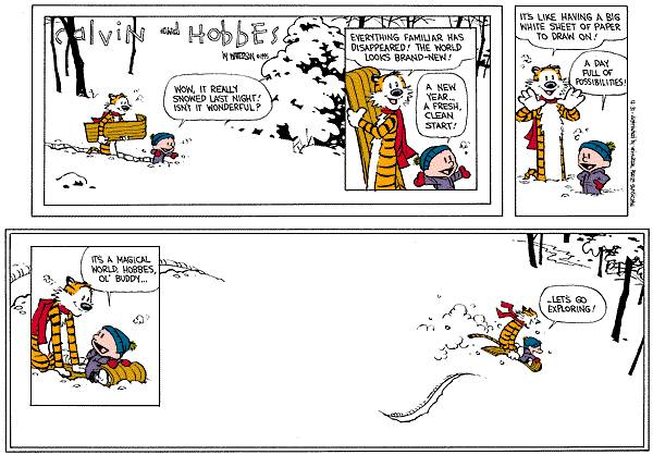 Calvin & Hobbes Cartoon - Off Sledding after a snow storm.