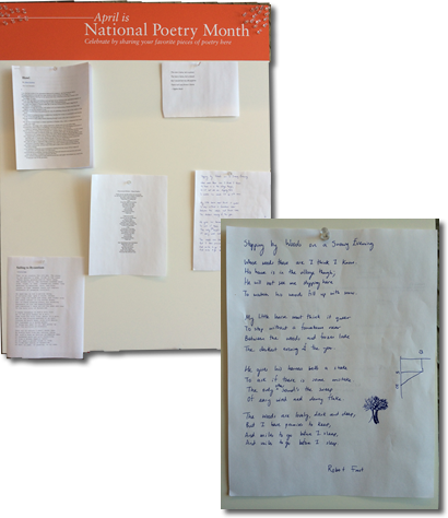 Picture of Nation Poetry Month Board with Poems Tacked On It