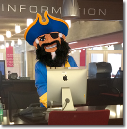 Welcome Back! Arnie Greets Returning Students in Library Learning Commons