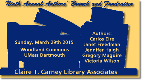 Image with silhouette of books with words Claire T. Carney Library Associates Ninth Annual Authors' Brunch and Fundraiser