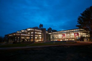 Picture of the Carney Library at Night