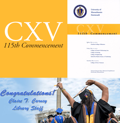Conagratulations from Claire T. Carney Library Staff - Image of Commencement Program and Student Celebrating
