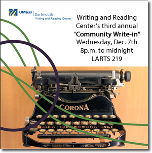 "Writing and Reading Center's ""Write-In"" on December 7, 2016 from 8 PM to midnight"