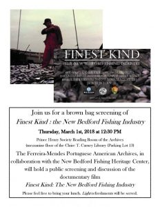 A flyer for the Brown Bag Screening of Finest Kind; The New Bedford Fishing Industry