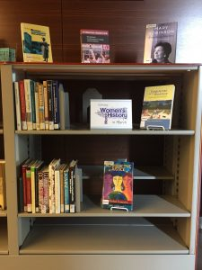 Photo of the Women's History book display near the 1st floor circulation desk