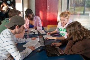 Image of students in library learning commons
